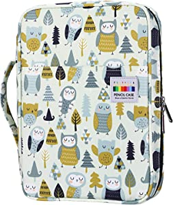 YOUSHARES Colored Pencil Case 166 Slots Pen Case Organizer With Handy Wrap & Zipper, Multilayer Holder for Prismacolor Colored Pencils & Gel Pen (Cute Owl)