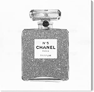 Oliver Gal 'Silver Classic Number 5' The Fashion Wall Art Decor Collection Contemporary Premium Canvas Art Print