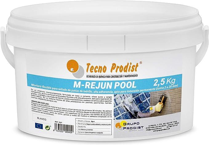 M-REJUN POOL de Tecno Prodist - (2,5 kg) Mortero flexible para sellado de juntas de baldosas y gresite en piscinas, ceramica, ladrillo, etc, para inmersión permanente (Junta 2 a 20 mm) Color