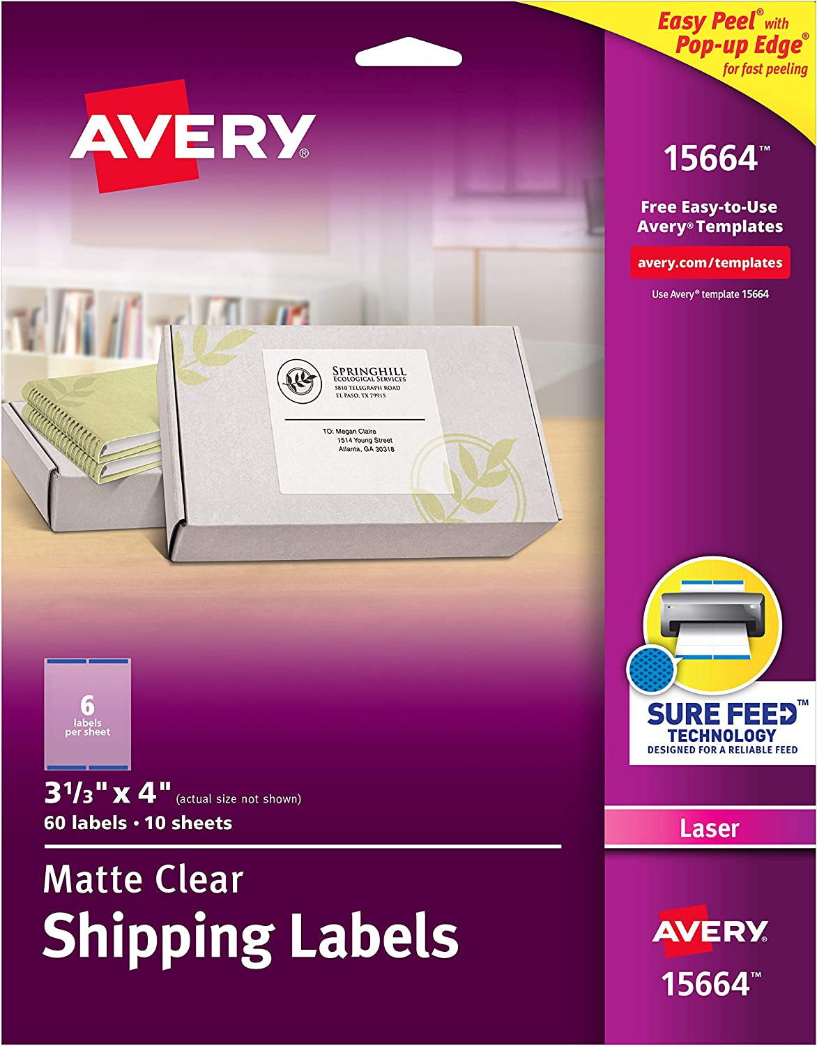 15664 Avery Clear Easy Peel Shipping Labels for Laser Printers 3-1//3 x 4 Box of 60