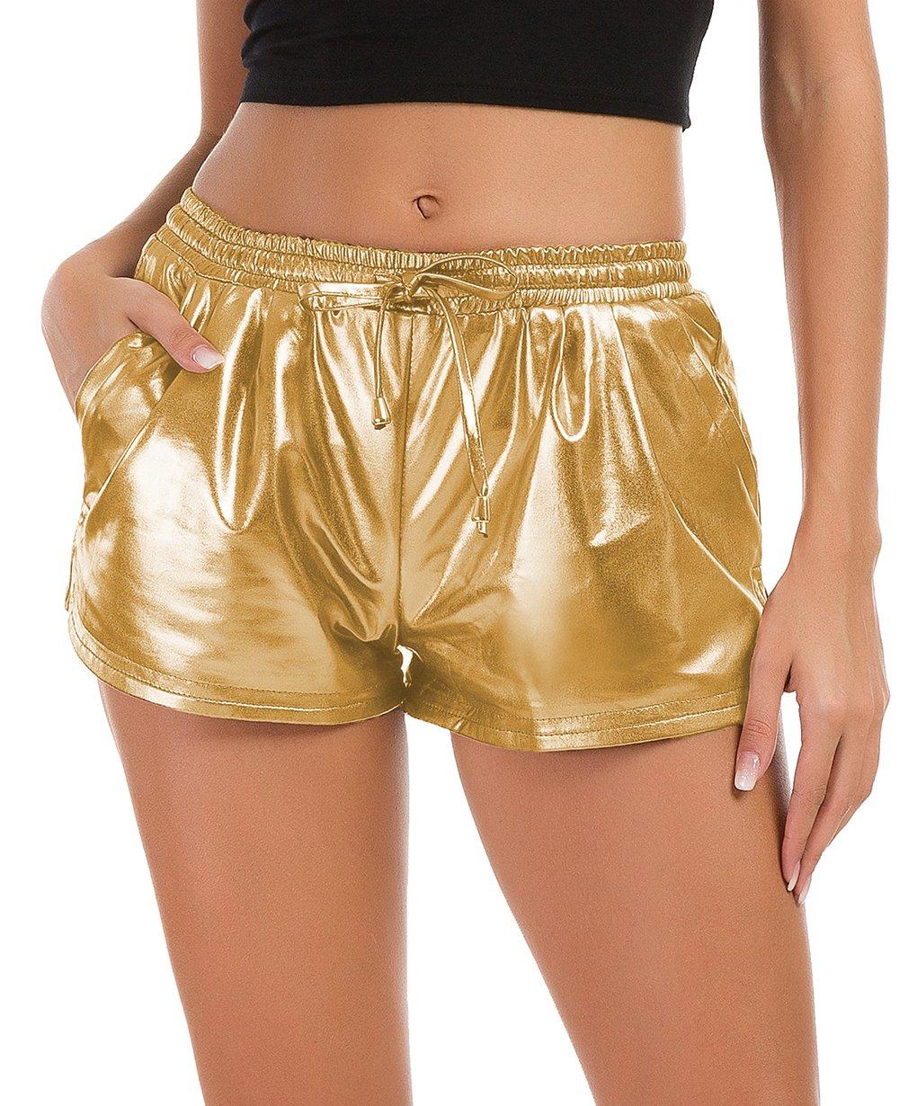 Tandisk Women's Yoga Hot Shorts Shiny Metallic Pants with Elastic Drawstring Gold M