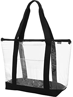 Clear Shoulder tote with Inside   Outside POCKETS and ZIPPER Closure cd28cd0e2b2b1