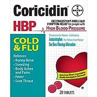 Coricidin HBP Decongestant-Free Cold & Flu Medicine for Hypertensives, Cold & Flu Symptom Relief for People with High Blood Pressure, 325 mg Acetaminophen Tablets (20 Count), Multicolor (533815)