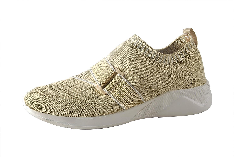 ROXY ROSE Lightweight Sneakers Slip On Mesh Women Casual Running Shoes B07BPYSWGK 9 M US|Beige