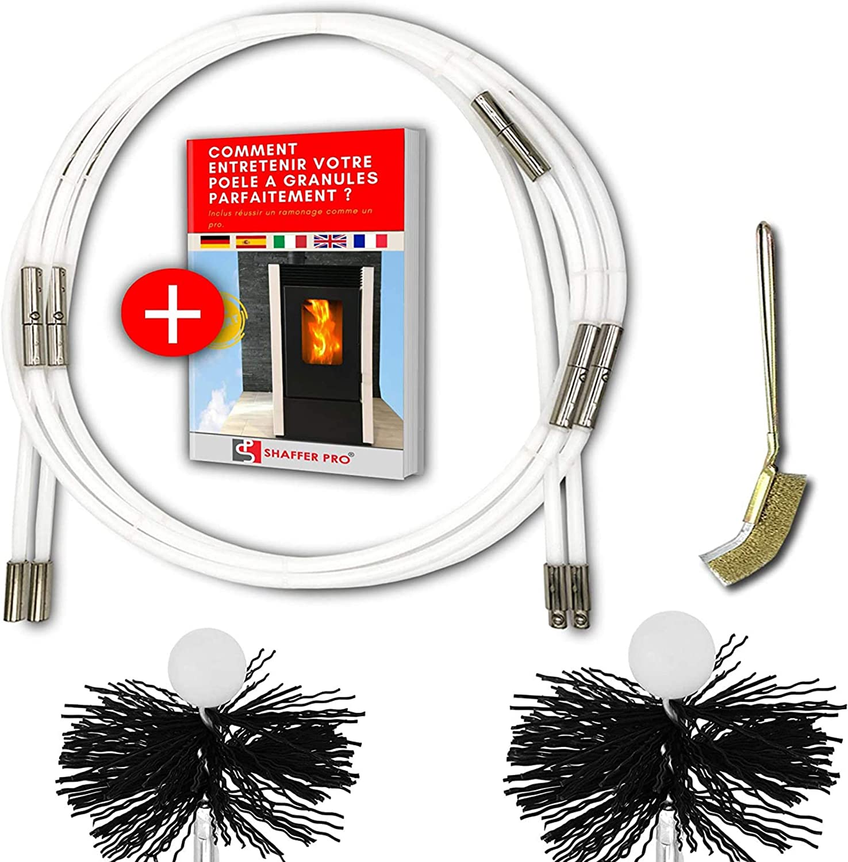 SHAFFER PRO - Kit de deshollinamiento de chimeneas con estufa de pellets de 6m - 80 mm y 100 mm EASYFLEX [ Ebook Offered for pellet stove ] 10 varillas flexibles para deshollinamiento de chimeneas kit