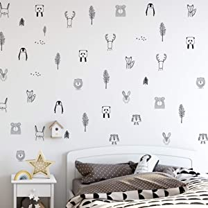Animal Wall Decals for Kids Bedrooms, Nursery, Baby Room, Play Room, Kids Room – Stylish Safari, Woodland Animal, Jungle, Tree Wall Stickers for Baby Nursery. Black and White Bedroom Decals