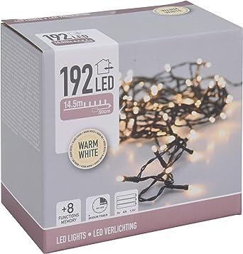 Lichterkette 192 LED warmweiß Zeitschaltuhr weiß Batterie 8 Funktionen