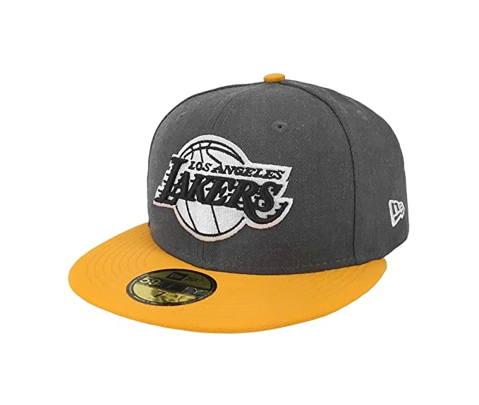 d5b6ff0f6da New Era 59Fifty Hat NBA Los Angeles Lakers Shader Melt 2 Charcoal Yellow Cap  (