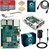 ABOX Raspberry Pi 3 Modelo B+ Starter Kit con Micro SD de 16GB Clase 10, 5V 3A Adaptador de Corriente con Interruptor, 2 Radiadores, Cable HDMI, Lector de Tarjetas, Caja Transparente