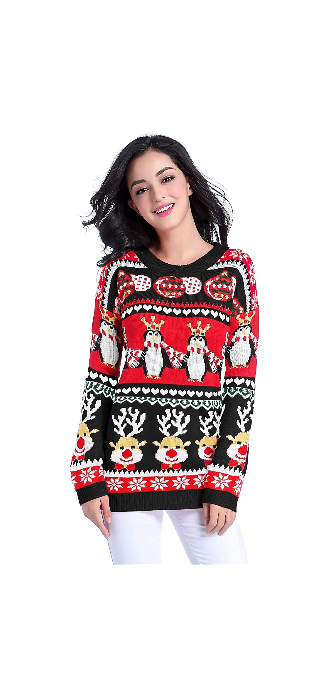 Ugly Christmas Sweater For Women Vintage Funny Merry Tunic