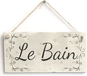 Le Bain French Country Shabby Chic Style Bathroom Sign/Plaque