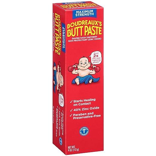 Boudreaux's Butt Paste Diaper Rash Ointment | Maximum Strength | 4 oz. Tube | Paraben & Preservative Free
