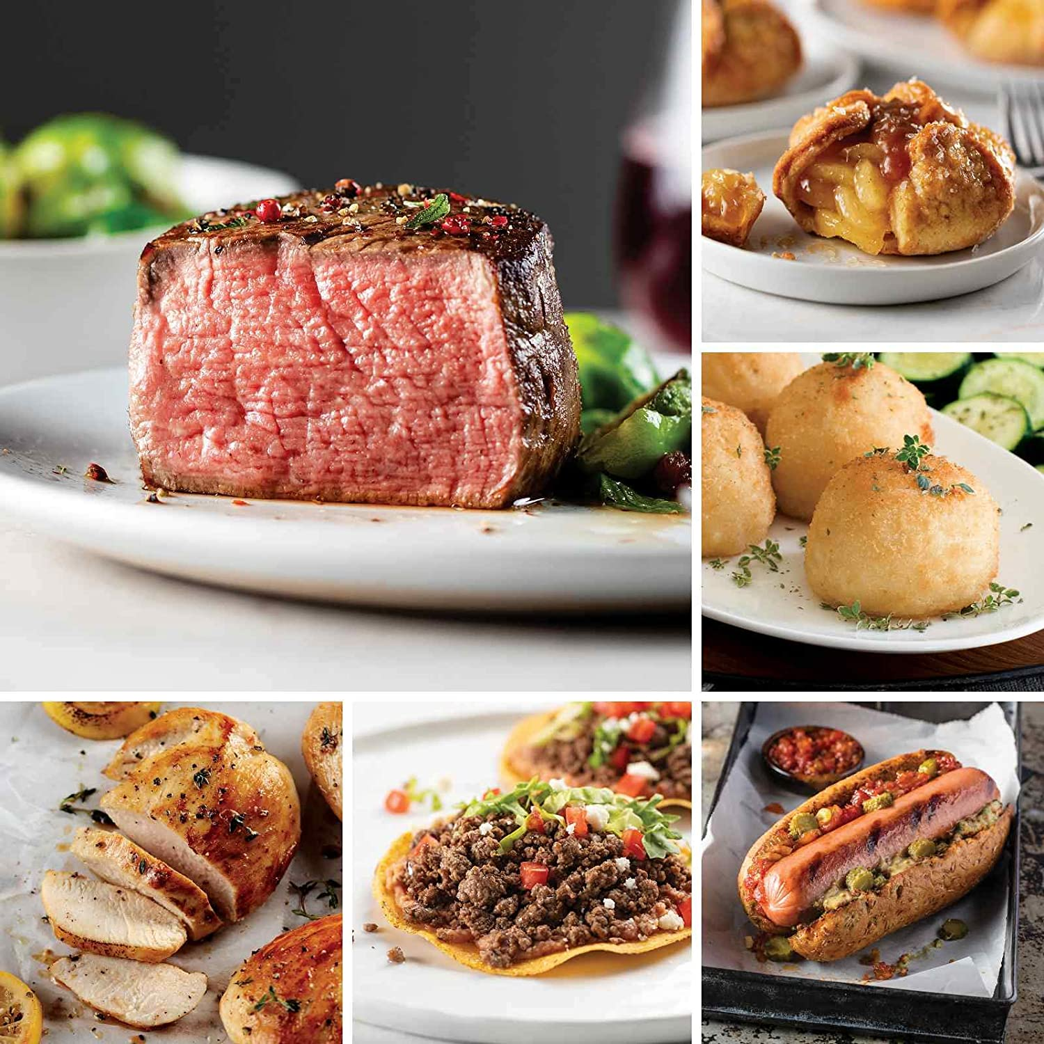 Filet For Father's Day from Omaha Steaks (Butcher's Cut Filet Mignons, Boneless Chicken Breasts, Premium Ground Beef, Gourmet Jumbo Franks, Potatoes au Gratin, Caramel Apple Tartlets, and more)