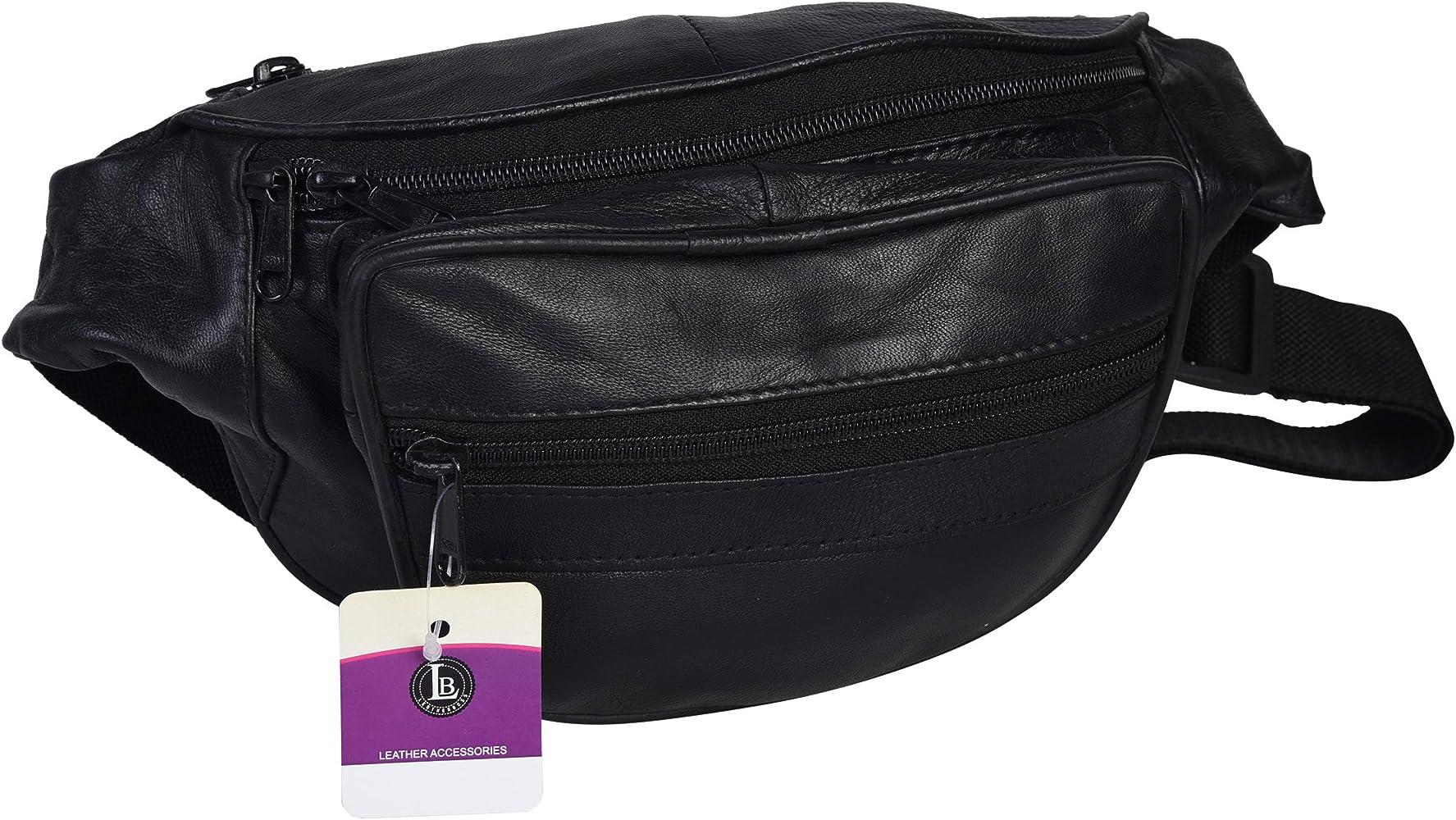 Rivets fanny pack for smartphone plus size Genuine black leather belt bag for woman