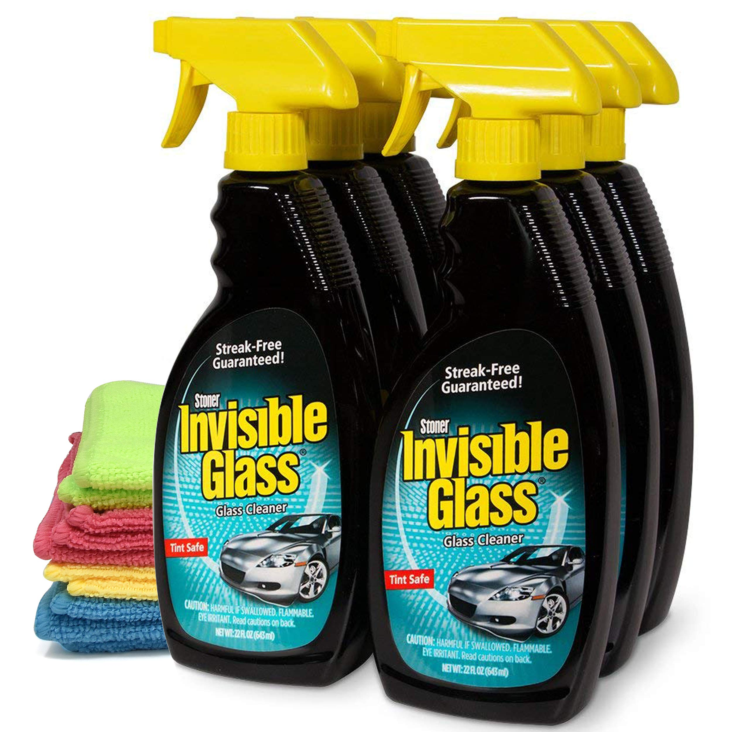Invisible Glass Cleaner and Window Spray, Streak Free Shine for Auto, Film Free Glass Cleaner Safe for Windshield, Tinted and Non Tinted Windows-6 Pack, and 4 UBEN Microfiber 12x12 Cleaning Cloths