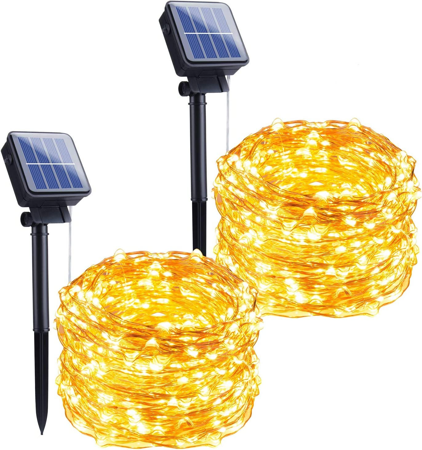 Outdoor Solar String Lights, 2 Pack 33FT 100 LED Solar Powered Fairy Lights with 8 Lighting Modes Waterproof Decoration Copper Wire Lights for Patio Yard Trees Christmas Wedding Party (Warm White) - -