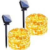 Outdoor Solar String Lights, 2 Pack 33Feet 100 Led Solar Powered Fairy Lights with 8 Lighting Modes Waterproof Decoration Cop