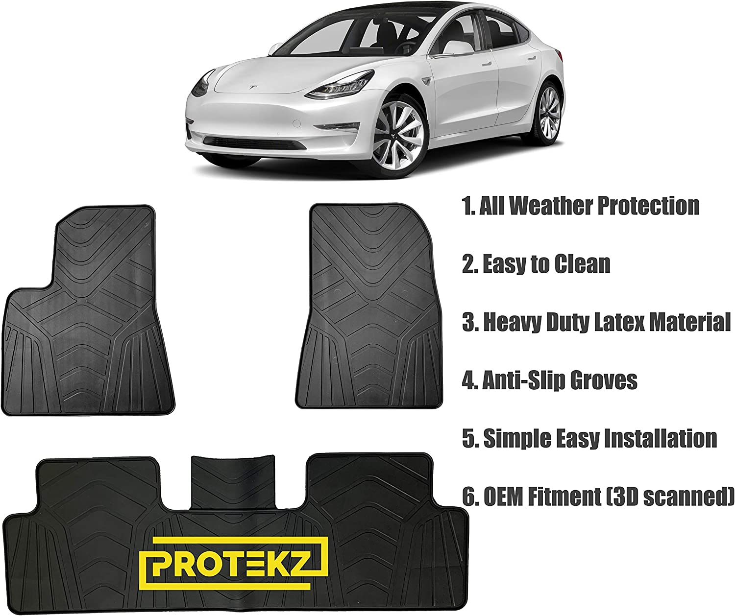 Black Autotech Zone Custom Fit Heavy Duty Custom Fit Car Floor Mat for 2014-2018 BMW 2 Series Coupe All Weather Protector 4 Pieces Set Floor mats