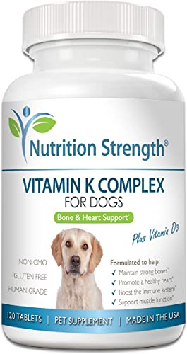 Nutrition Strength Vitamin K for Dogs, Vitamins K1 K2 MK4 MK7 Vitamin D3, Help Maintain Strong Bones, Promote Healthy Heart, Boost Immune System, Support Muscle Function, 120 Chewable Tablets