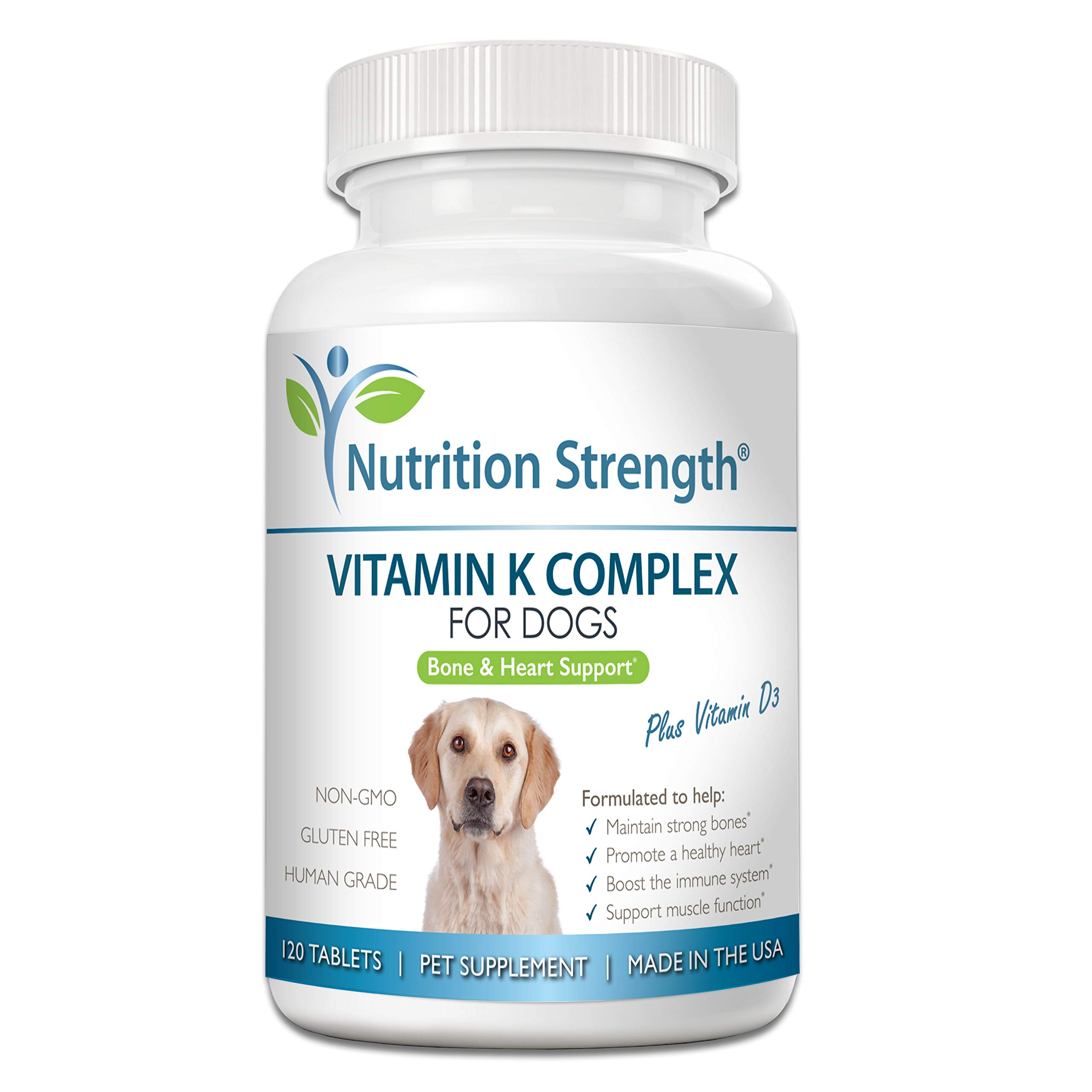 Nutrition Strength Vitamin K for Dogs, Vitamins K1 & K2 (MK4 & MK7) + Vitamin D3, Help Maintain Strong Bones, Promote Healthy Heart, Boost Immune System, Support Muscle Function, 120 Chewable Tablets