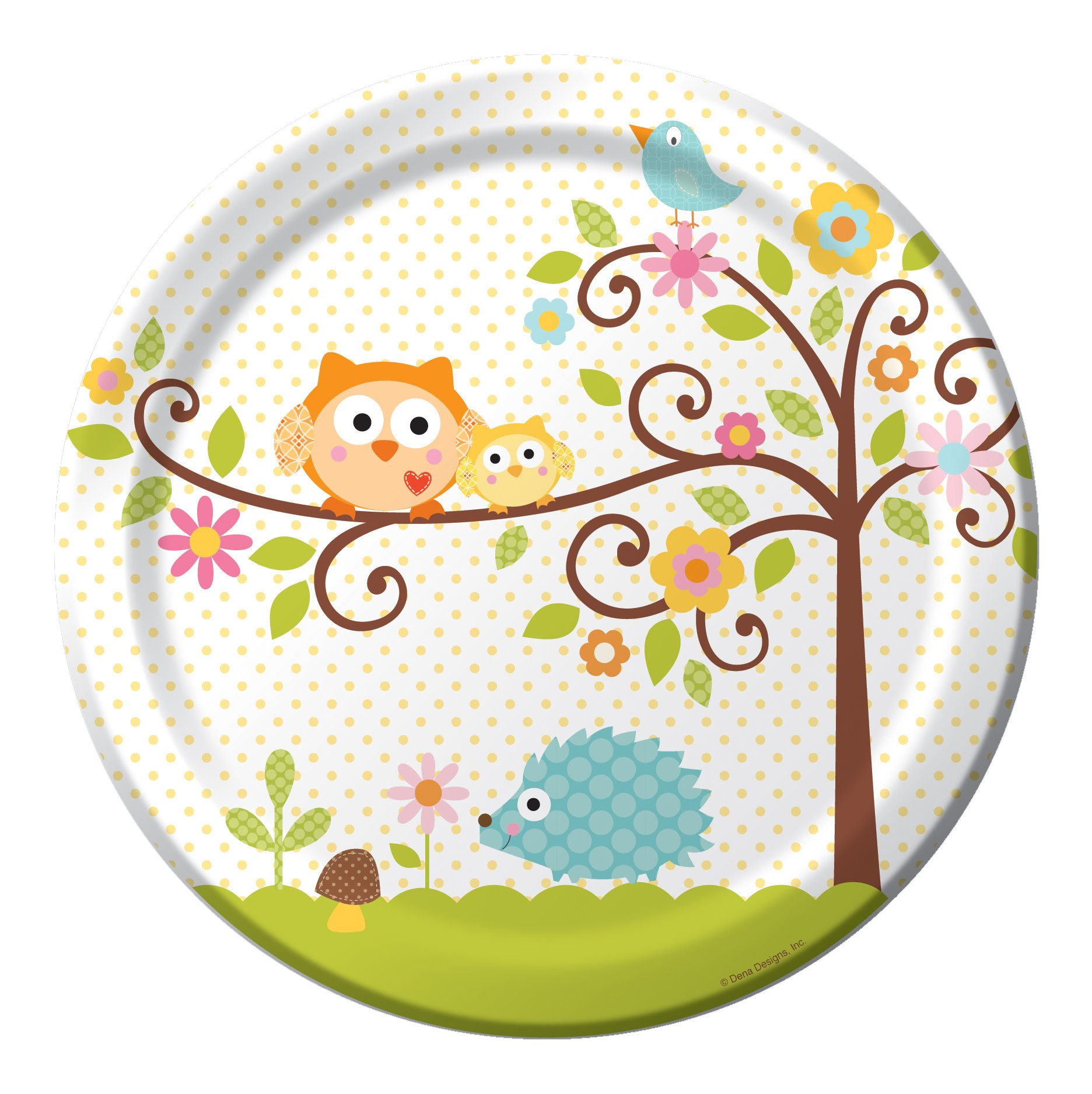 8-Count Round Paper Dinner Plates, Happi Tree Sweet Baby