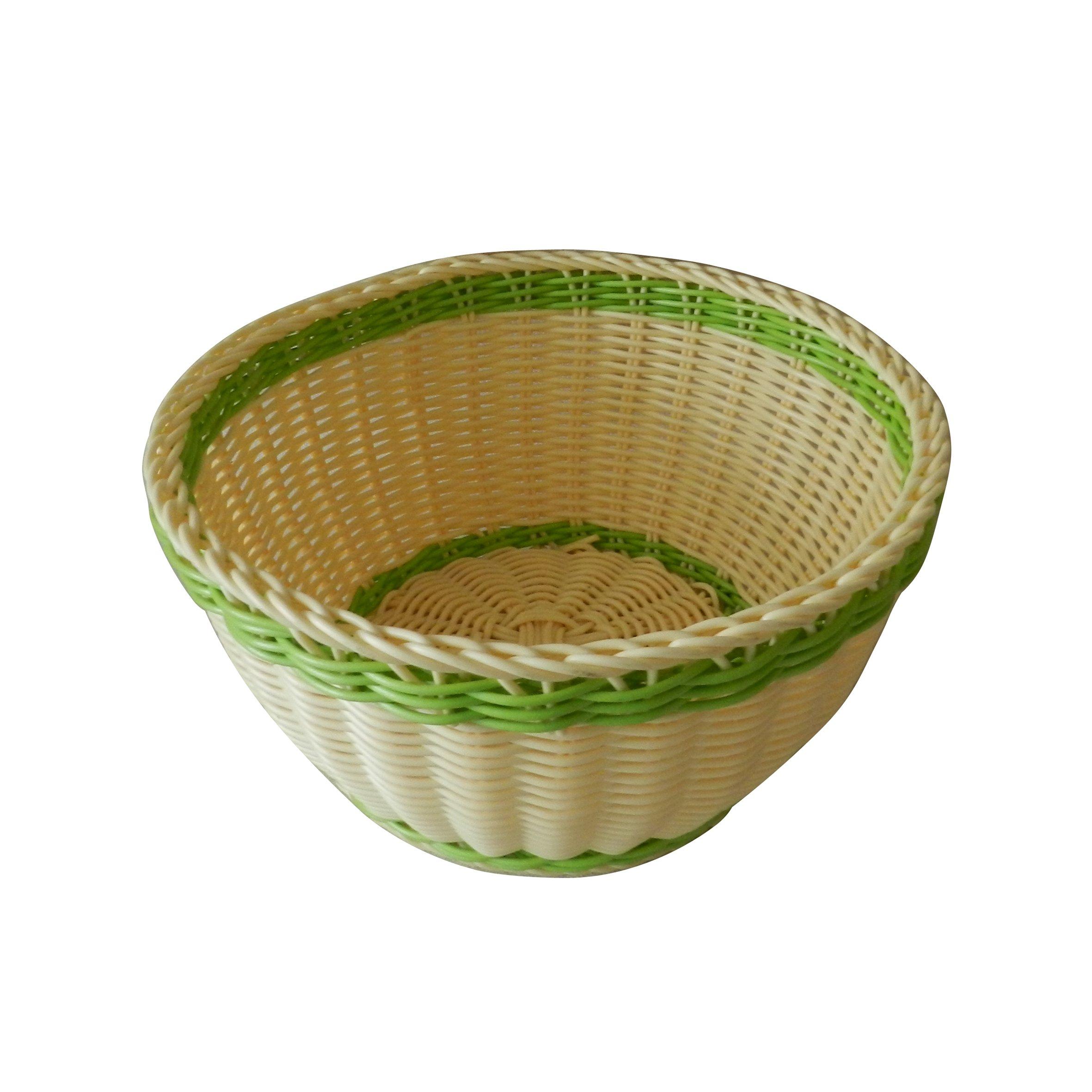 CVHOMEDECO. Round Imitation Rattan Bread Basket Fruit Basket Dessert Basket Resin Wicker Household Snacks Candy Basket. Yellow and Green. 9''Dia. X 4-1/2''H