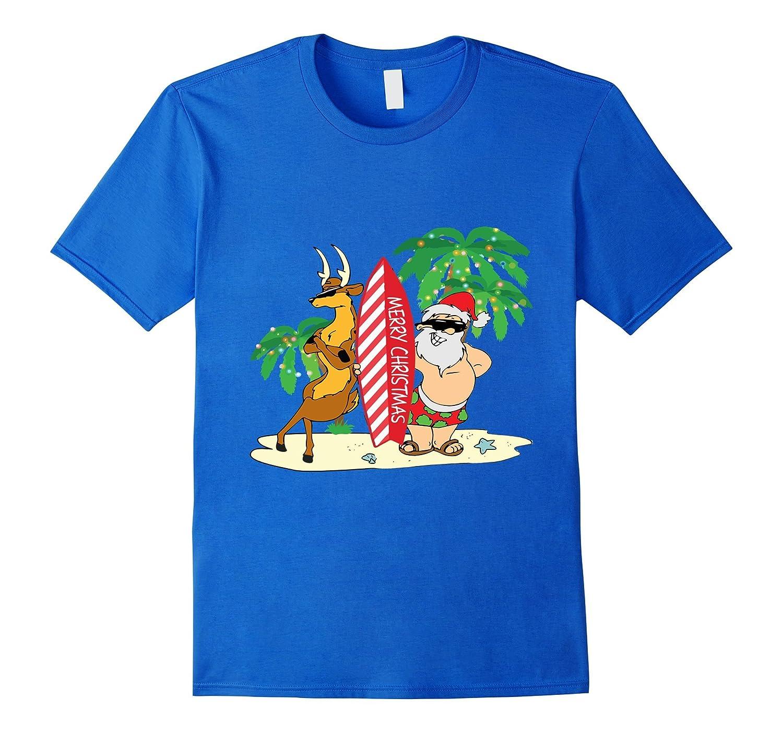 9dc2ebe5c34d Funny Santa Surfing Hawaiian T-Shirt Summer Christmas Outfit-RT ...