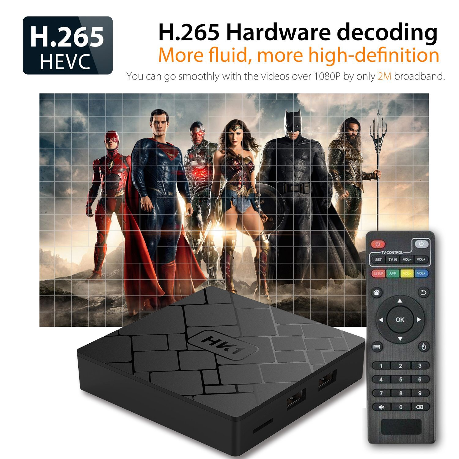 [Free Wireless Keyboard] 2018 J-Deal 4K 7 1 Android TV Box, 2GB RAM 16GB  ROM, Amlogic Quad Core A53 Processor 64 Bits, 2 4GHz WiFi Smart TV Box,  HDMI