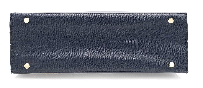 Sac Cours Lyc/ée Fourre Tout Taille XL Sac Cabas Femmes Format A4 Sac /à Main Semi-Rigide-Bleu Marine Sac Epaule Bandouli/ère Tavail Bandouli/ère