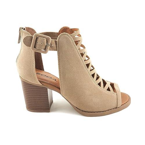 1234cfc5bdb Soda Womens Fahsoin Aran Open Toe Heel Sandal