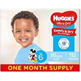 Huggies Ultra Dry Nappies, Boys, Size 6 Junior (16kg+), 112 Count, One-Month Supply, (Packaging May Vary)