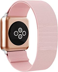 BMBEAR Stretchy Strap Loop Compatible with Apple Watch Band 38mm 40mm iWatch Series 6/5/4/3/2/1 Pure Pink