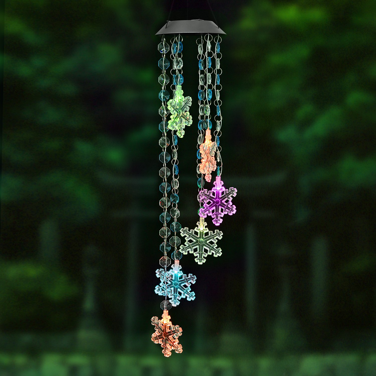 AceList Changing Color Snowflake+Bead Wind Chime, Spiral Spinner Windchime Portable Outdoor Decorative Romantic Windbell Light for Patio, Deck, Yard, Garden, Home, Pathway by AceList (Image #1)