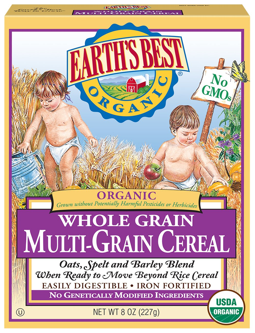 Earth's Best Organic Infant Cereal, Whole Grain Oatmeal, 8 Oz (Pack of 12) - Packaging May Vary Earth' s Best Ear-1086