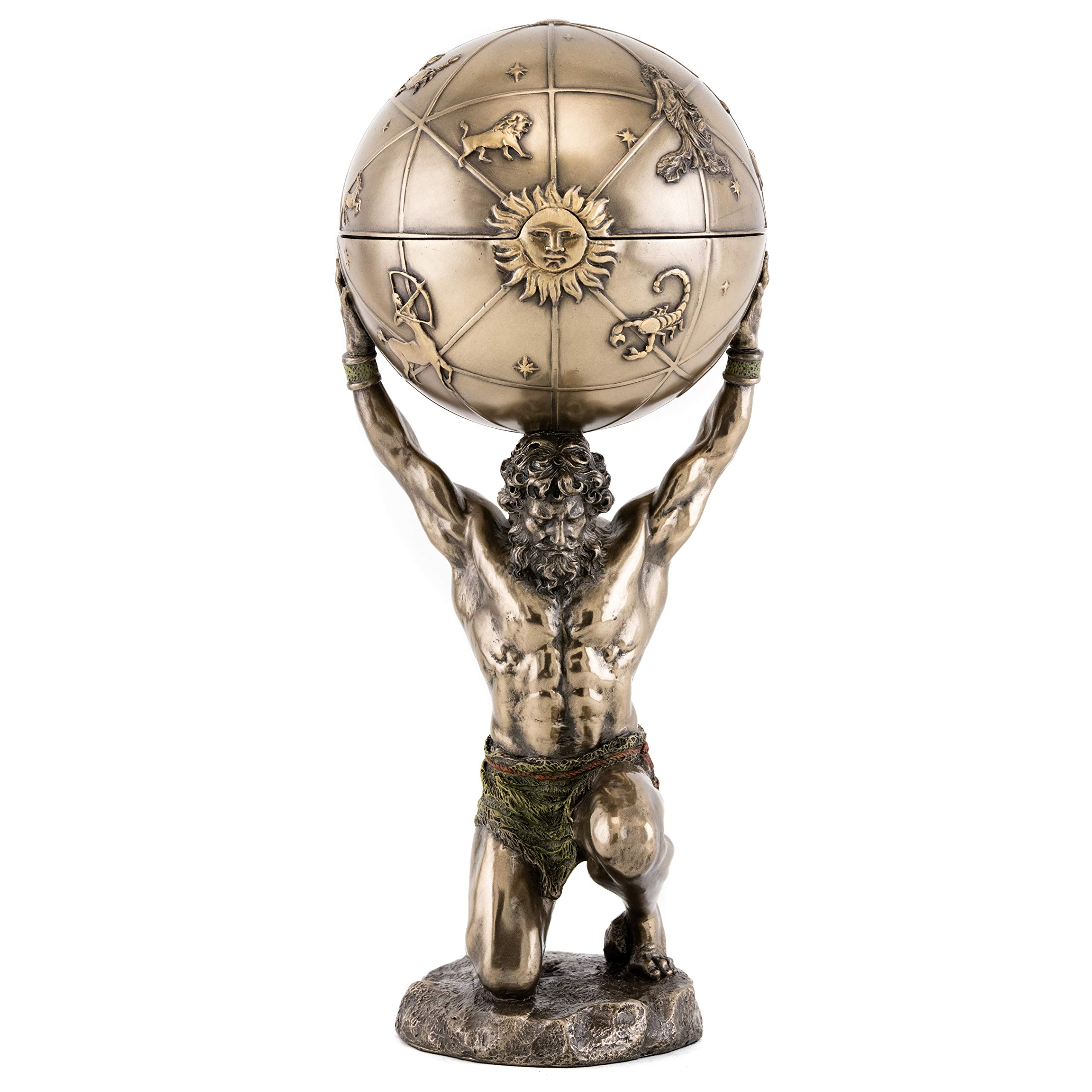 Top Collection Greek God Atlas Statue With Globe Container