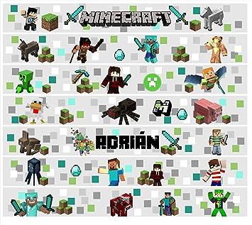 Frise Minecraft cœurs de vinyle enfants Sticker mural décoration ...
