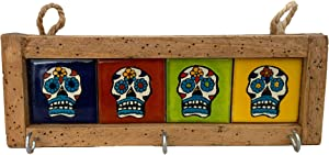 Mexican Key Holder with Metal Hooks and Colorful Day of The Dead Talavera Tiles - Mexican Style - Talavera Wall Art - Mexican Home Decor - Assorted Tiles - Portallaves Dia de Muertos