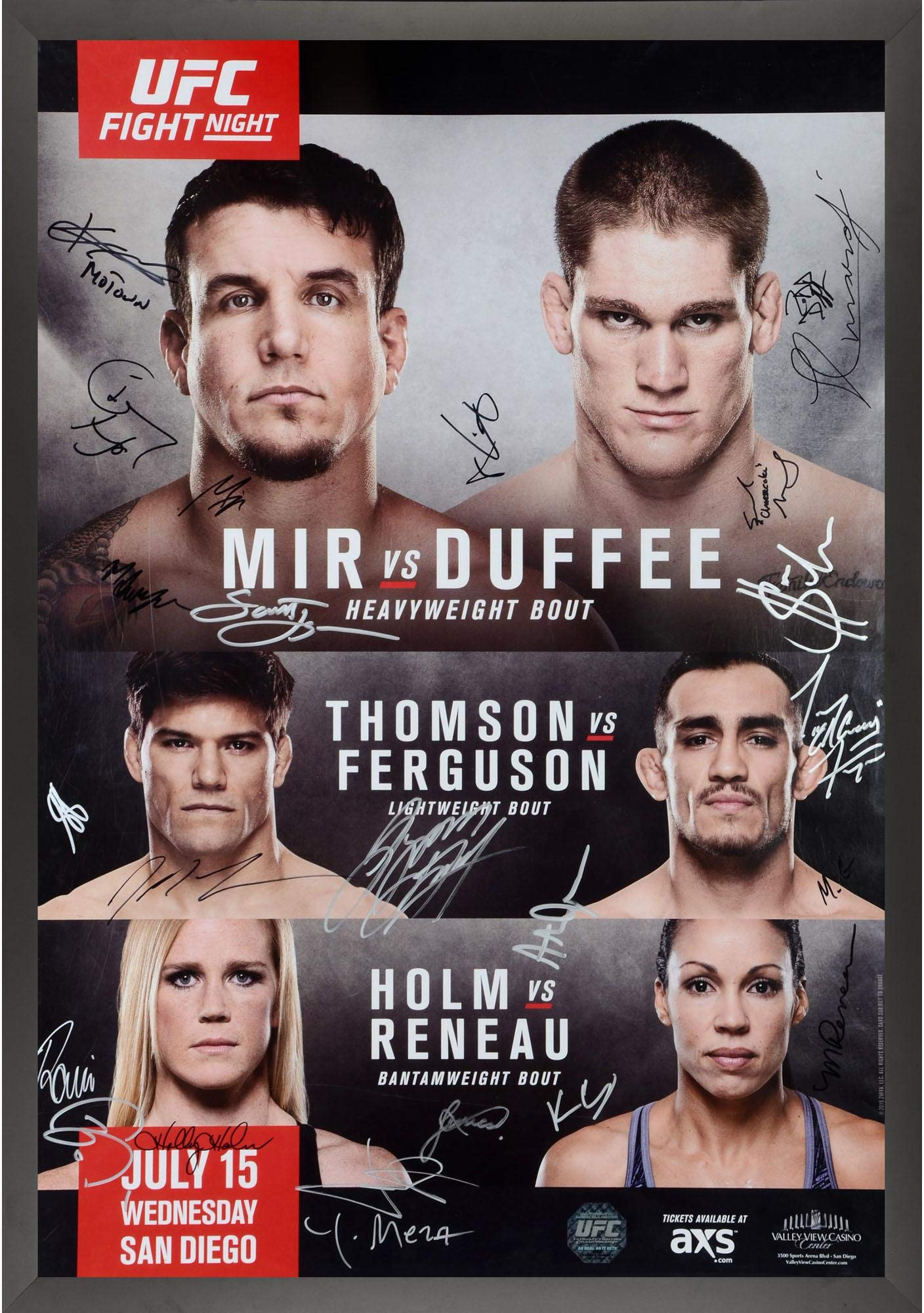 """UFC Fight Night 71 Mir vs. Duffee Framed Autographed 27"""" x 39"""" 24 Signature Fight Poster Fanatics Authentic Certified"""