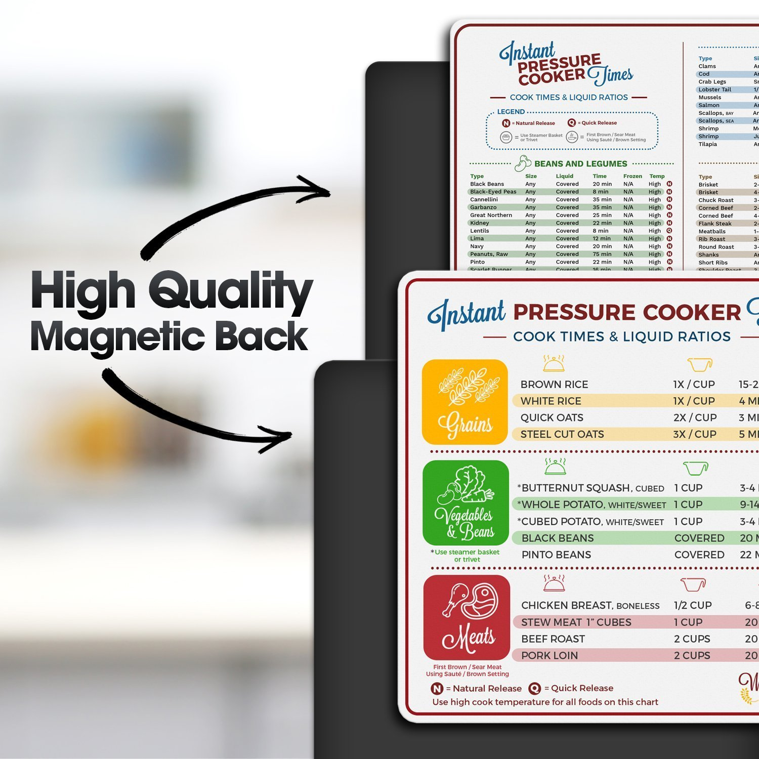 Instant Pot Electric Pressure Cooker Cook Times Quick Reference Guide | Instapot Accessories Magnetic Cheat Sheet Magnet Set | Insta Pot Sticker and Decal Alternative | Made in the USA by Willa Flare (Image #5)
