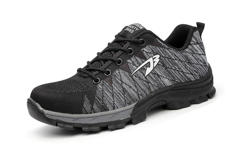 Aizeroth-UK Uomo Donna S3 Scarpe da Lavoro Comodissime Traspiranti Scarpe antinfortunistiche con Punta in Acciaio Stival Calzature da cantiere escursionismo Sneaker di Sicurezza per Industria Edilizia Safety shoes JB04