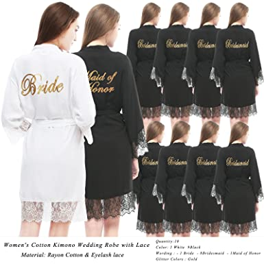 1fff3eac44 PROGULOVER Women s Set of 10 Bridesmaid Robes for Wedding Cotton Kimono  Bridal Party Getting Ready Robe