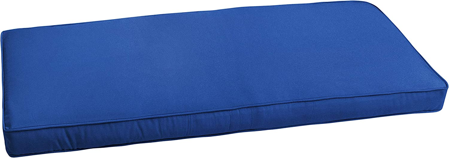 Mozaic AZCS0095 Indoor or Outdoor Sunbrella Bench Cushion with Corded Edges and Tie Backs, 48 inches, Canvas True Blue