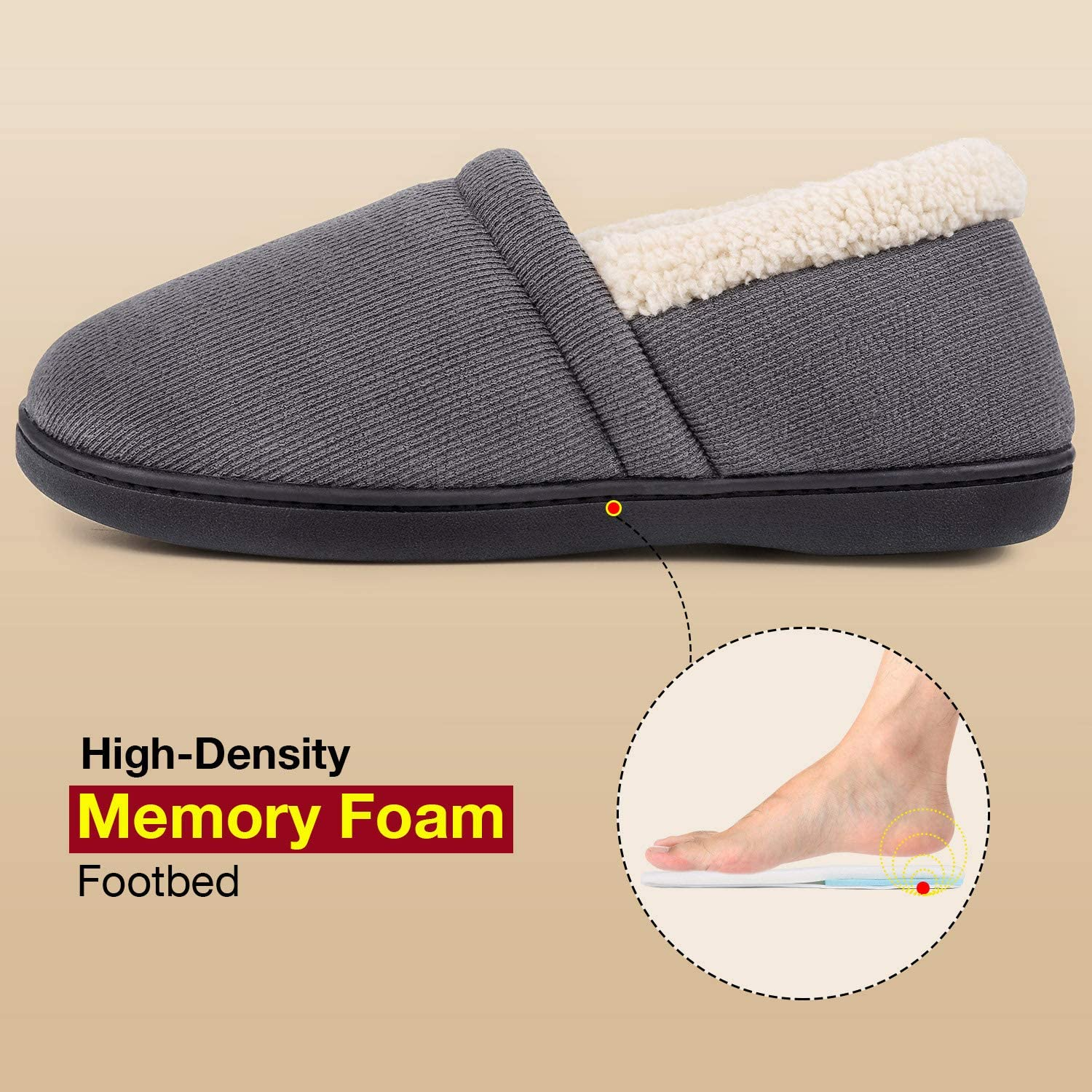 Men's House Shoes Slippers Comfy Fuzzy Knit Cotton Memory Foam w//Indoor Outdoor