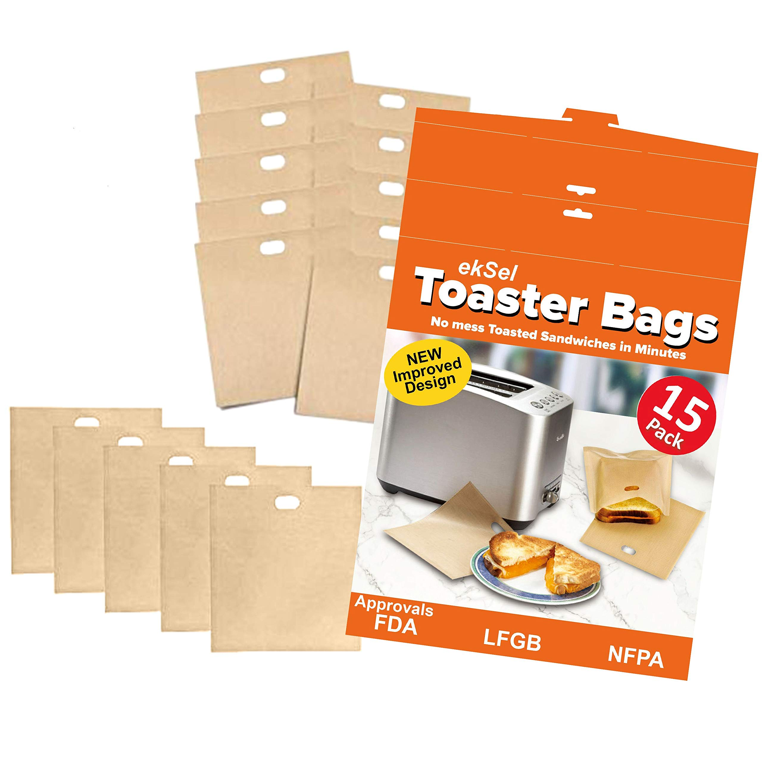 ekSel Toaster Bags Reusable Non-stick Gluten Free Grilled Cheese Nuggets BPA free 15 Pack by ekSel