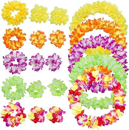 Amazon.com: PAMASE 5 juegos de coronas hawaianas de flores ...