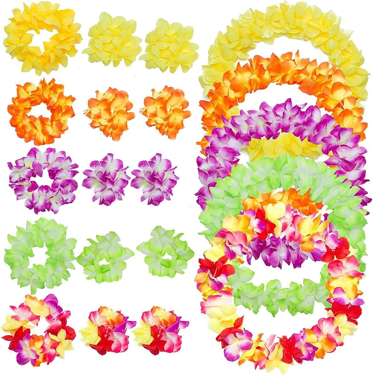 Madholly 5 juegos hawaianos: collares de flores, diadema de flores, brazalete de flores para niños y adultos, juegos de collar de flores de hibisco artificial artificial de Hawai para la fiesta