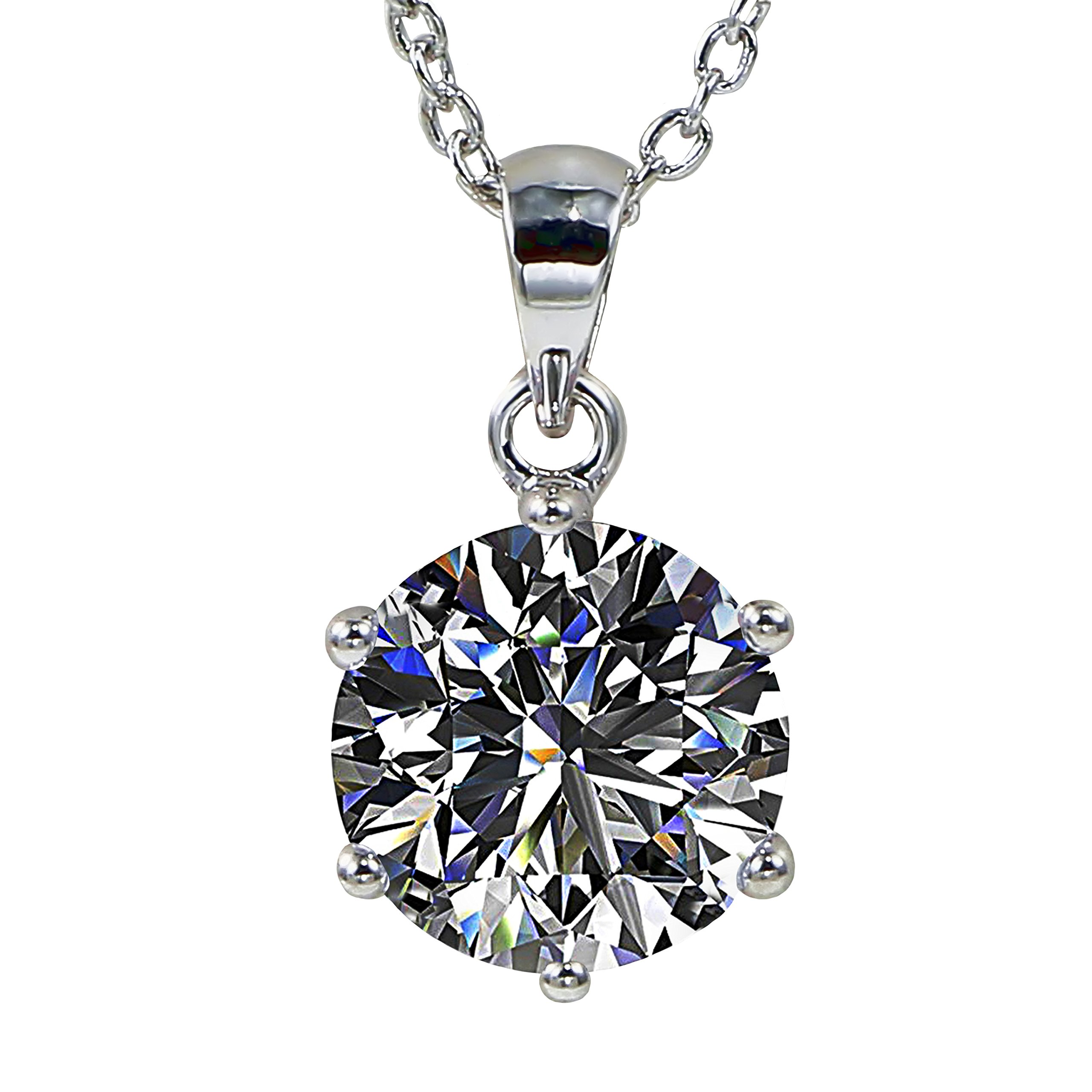 Juliani Chain Pendant Necklace Jewelry - 10mm Solitaire 3 Carat CZ 18'' White Gold Plated for Women Girls