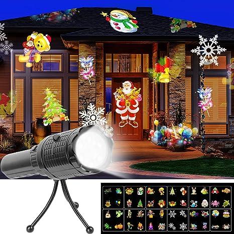 Luces de Proyector Navidad, UNIFUN 12 Diapositivas Linterna y Proyector con Recargable Batería Lámpara de Proyector Decoracion para ...