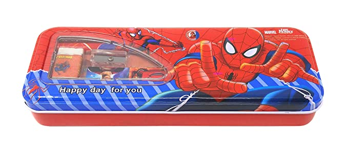 Parteet® New Multicolour Cartoon Printed Metal Pencil Box with Accessoriess for Kids(Red)