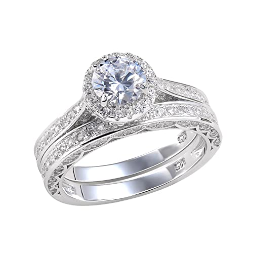 Newshe Vintage Bridal Set 2.4ct Round White CZ 925 Sterling Silver Wedding Engagement Ring Set Size J to T PF5ZSS